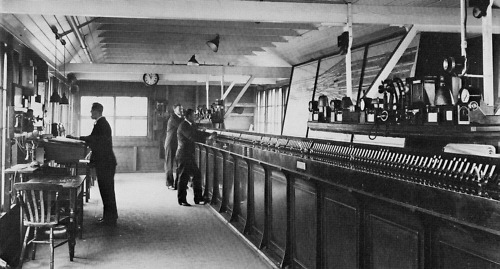 Inside the 'New Electric Signal Box' in November 1932. Note the small electric signal levers