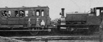 Manning Wardle 0-4-0 at Garforth with Aberfordians returning from Leeds, date and specific locomotive unknown