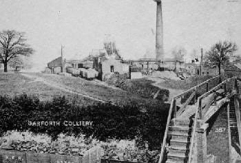 Sisters Pit in about 1900. Foreground wagons are on the western junction curve of the Aberford Railway