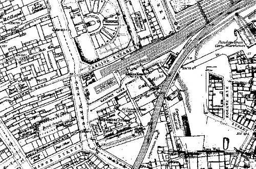 Fig. 13, Bypass around Carliol Square Station