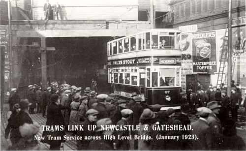 Fig. 7, New Tram Service across the High Level Bridge, (January 1923); Gateshead Tram No. 67 inaugurates the service
