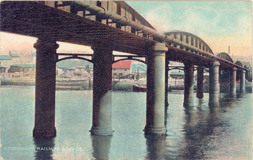 Fig. 8, Colour postcard of Scotswood Railway Bridge