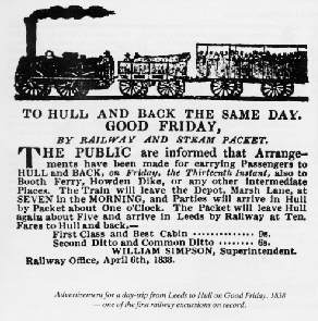 Advertisement for a day trip excursion on Good Friday, 1838 - one of the earliest railway excursions on record
