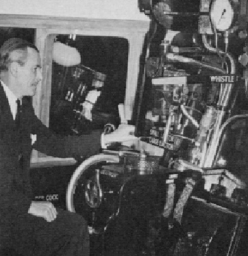 Robert Riddles demonstrating the seated driving position in a Britannia mockup