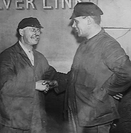 George Henry Haygreen (left) at his retirement, one month after his 'Silver Fox' run