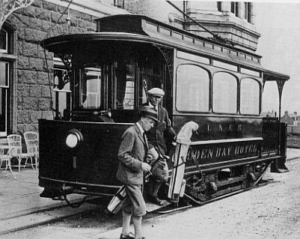 Cruden Bay Tram No. 1 outside the hotel in about 1930