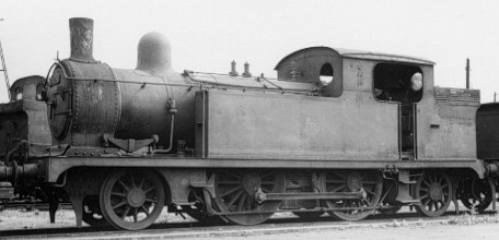 T.W.Worsdell F5 2-4-2T BR No. 67195 at Stratford in 1958 with wartime stovepipe chimney (PH.Groom)