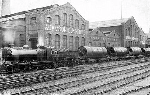 J11 No. 5313 at Adamson Engineering, Dukinfield with a load of Lancashire boilers (G.Royle)