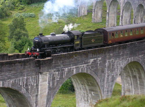 No. 62005 on the  Glenfinnan Viaduct in 2005 (c. Paul Rope)