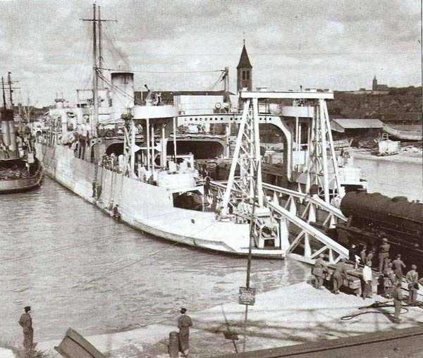 Harwich Train Ferry No. ?3 at Dieppe during war time (c. G.Robinson)