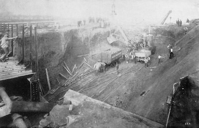 Cutting near the Leeds-Pontefract Road nears completion in October 1894