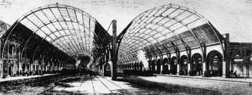 Line engraving of the original Kings Cross arches in 1852. Note the platforms on the far left and far right only
