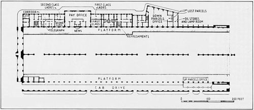 Plan of Cubitt's 2 arch Kings Cross Station, as built in 1852