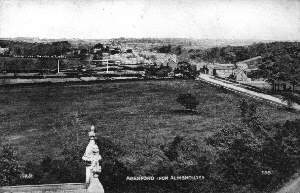 Photograph of Aberford including the railway, taken from the Almshouses (Brian Hull)