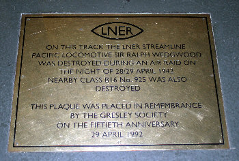 Plaque at York marking location of A4 Sir Ralph Wedgwood when destroyed during air raid.