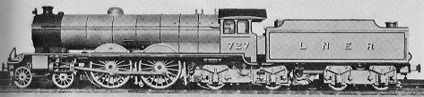 C9 Atlantic No. 727 with booster, at Darlington 1931