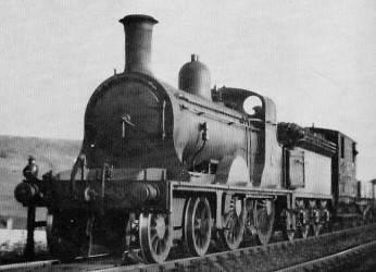 D35 No. 1434 assisting a goods train (tender first) near Ferry Hills in about 1920