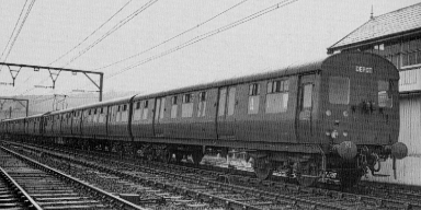 Glossop stock as delivered and unpainted in the early 1950s, at Glossop signal box