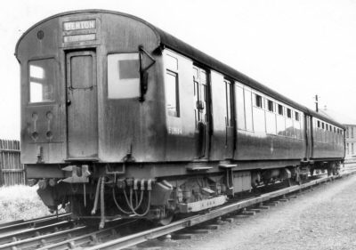1937 Metro-Cammell stock in early BR days at South Gosforth, E29164 fitted with roller bearings; Bill Donald Collection
