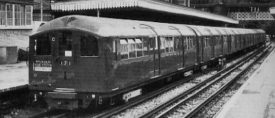 Refurbished London Transport 1938 stock at High Barnet in 1986