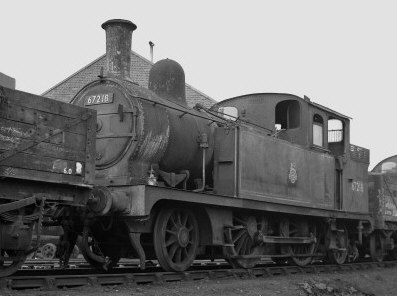F5 2-4-2T BR No. 67218 at Stratford in 1958 probably after withdrawal. Note unusual cab. (M.Morant)
