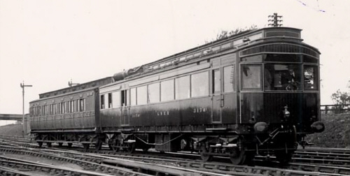 NER Petrol-Electric Autocar and clerestory coach at Poppleton Junction (K.Hoole)