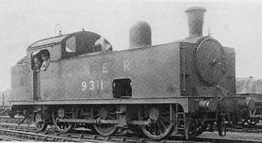 Class N5/3 No. 9311 at Lincoln in 1948; Larger side tanks, Ross pop safety valves, and footsteps at front