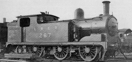 Class N8 No. 267 at Starbeck shed in 1935, with long smokebox superheated Diagram 67 boiler