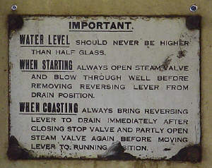 Sign from the inside of No. 68153's cab